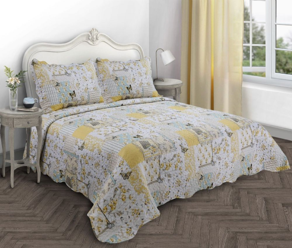 VINTAGE BOUTIQUE COUNTRY COTTAGE QUILTED BEDSPREAD COMFORTER SET FLORAL PATCHWORK YELLOW LEMON
